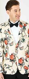 Vittorio St. Angelo SZ629 -  Mens Notch Lapel Rose Print Slim Fit Blazer