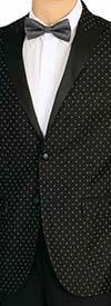 Vittorio St. Angelo SZ62PD-Black -  Mens Peak Lapel Polka Dot Print Slim Fit Sports Blazer