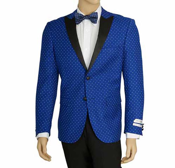 Vittorio St. Angelo SZ62PD-Blue -  Mens Peak Lapel Polka Dot Print Slim Fit Sports Blazer