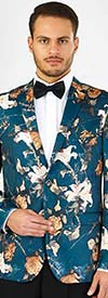 Vittorio St. Angelo SZ630 -  Mens Notch Lapel Floral Print Slim Fit Blazer