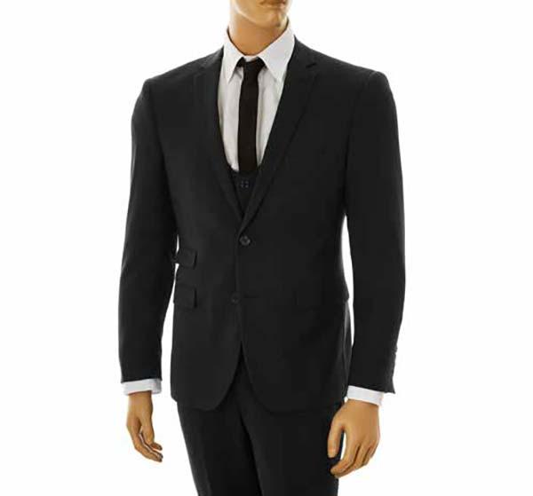Vittorio St. Angelo US631V-Black - Mens Ultra Slim Fit Stretch Suit