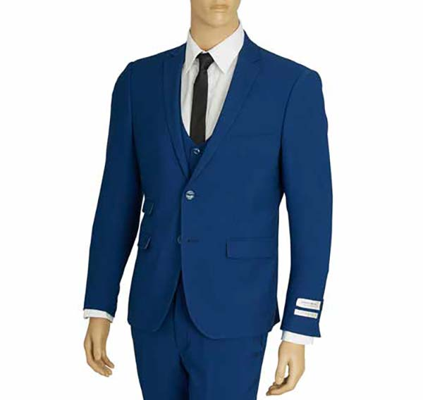 Vittorio St. Angelo US631V-Blue - Mens Ultra Slim Fit Stretch Suit