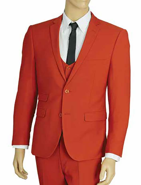 Vittorio St. Angelo US631V-Brick - Mens Ultra Slim Fit Stretch Suit