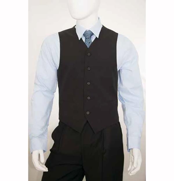 Vittorio St. Angelo V752TA-Black Five Button Single Breasted Mens Vest
