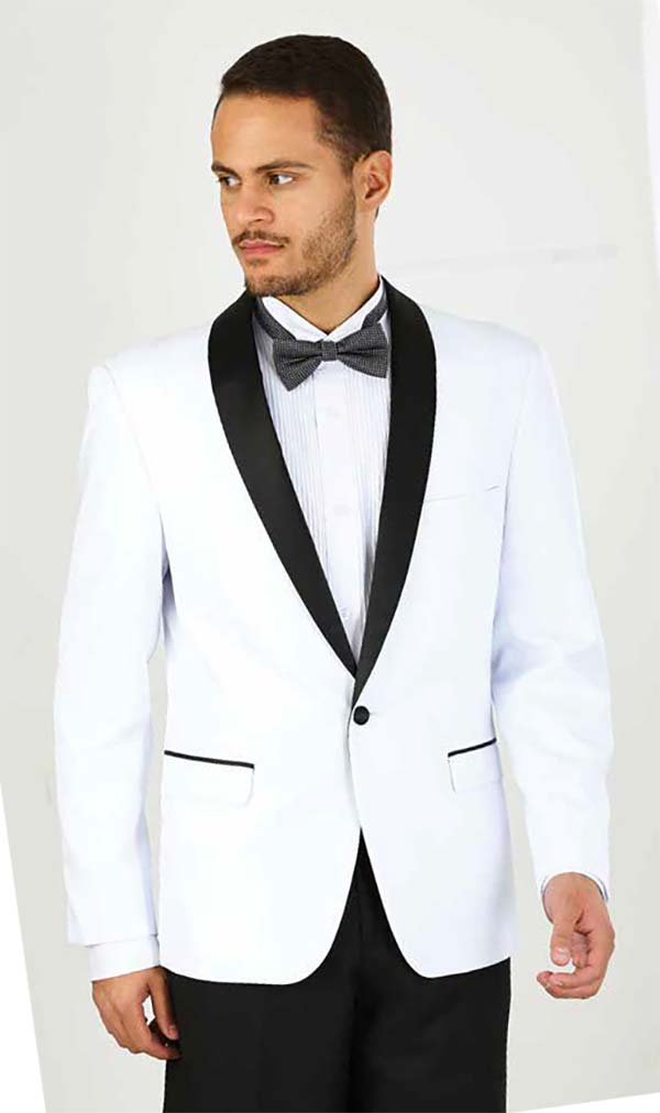 Vittorio St. Angelo YS61S-White - Two Piece Slim Fit Mens Tuxedo