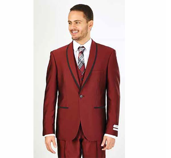 Vittorio St. Angelo FS61V-Burgundy - Mens Three Piece Slim Fit Evening Suit