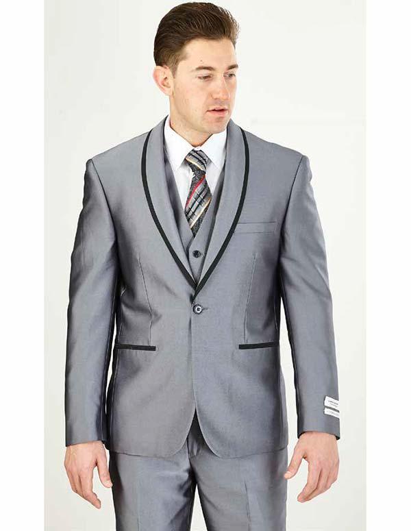 Vittorio St. Angelo FS61V-Grey - Mens Three Piece Slim Fit Evening Suit