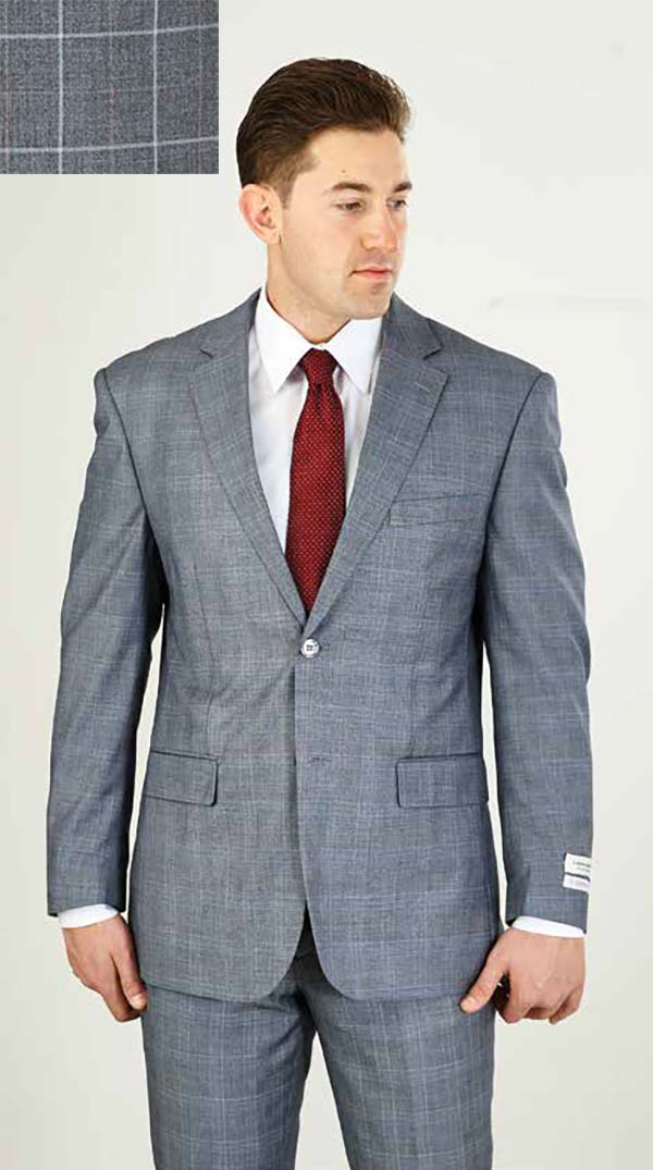 Vittorio St. Angelo M62WP-Grey - Two Piece Mens Suit With Subtle Window Pane Pattern