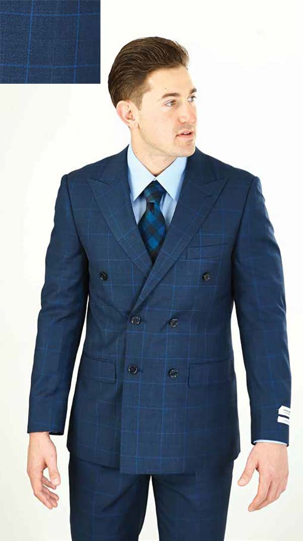 Vittorio St. Angelo M662WD-Navy - Double Breasted Peak Lapel Mens Suit With Window Pane Pattern