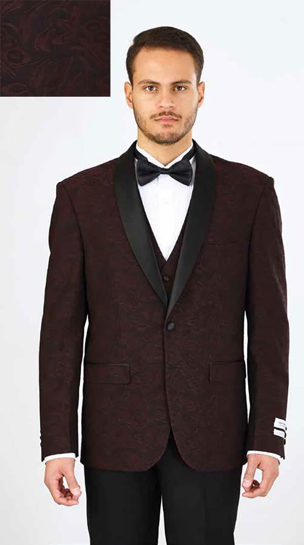 Vittorio St. Angelo YS61V-Wine - Three Piece Slim Fit Mens Tuxedo