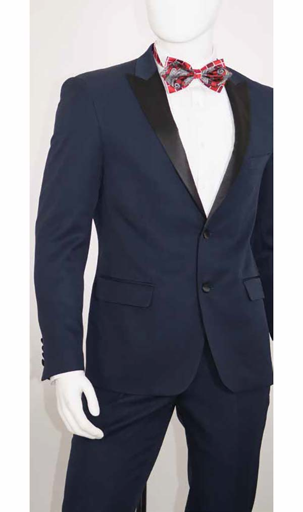 Vittorio St. Angelo YS82 Mens Slim Fit Tuxedo With Contrast Peak Lapels